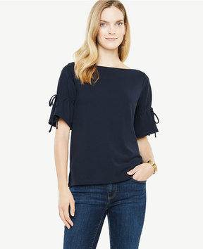 Ann Taylor Double Tie Sleeve Top