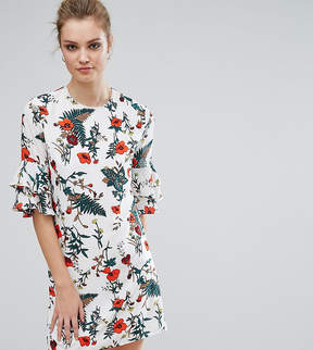 Fashion Union Tall Floral Printed Fluted Sleeve Dress