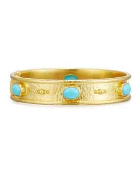 Elizabeth Locke 19K Gold Turquoise Cabochon Bangle