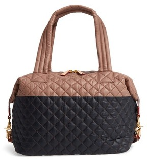 MZ Wallace 'Large Sutton' Quilted Oxford Nylon Shoulder Tote - Black