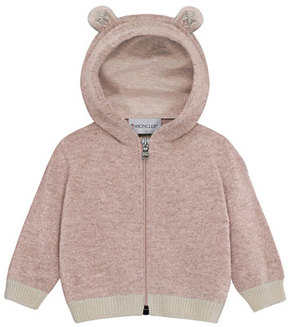 Moncler Maglia Virgin Wool Hooded Cardigan, Size 6M-3T