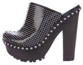 Miu Miu Studded Patent Leather Clogs