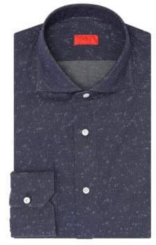 Isaia Speckled Cotton Dress Shirt