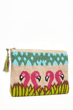 Forever 21 Embroidered Flamingo Clutch