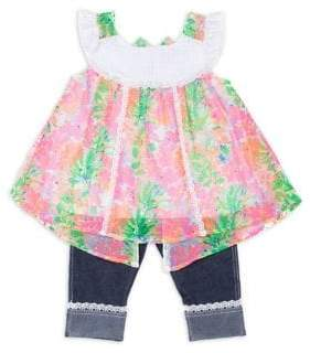 Little Lass Little Girl's Two-Piece Lace Trimmed Tee and Pant Set
