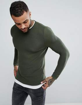 Pull&Bear Double Layer Sweatshirt In Khaki