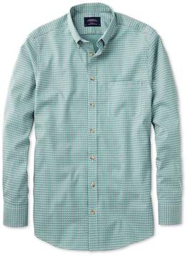 Charles Tyrwhitt Classic Fit Non-Iron Poplin Green and Navy Check Cotton Casual Shirt Single Cuff Size Large