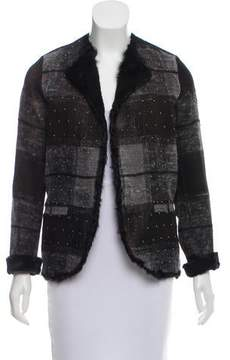 Avant Toi Shearling-Accented Plaid Jacket w/ Tags