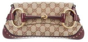 Gucci GG Canvas Horsebit Shoulder Bag - BROWN - STYLE