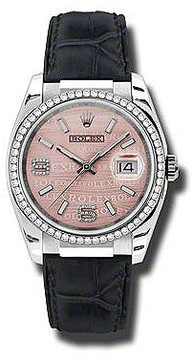 Rolex Datejust 36 mm Pink Wave Dial Diamond Set Bezel Black Leather Strap Ladies Watch