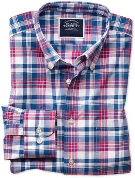 Charles Tyrwhitt Slim Fit Poplin Pink and Navy Cotton Casual Shirt Single Cuff Size XS