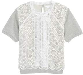 Burberry Hettie Lace Short Sleeve Sweater