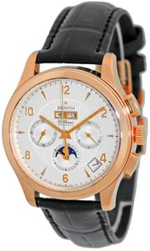 Zenith Class T Moonphase El Primero Chronograph 18K Rose Gold Strap Mens Watch