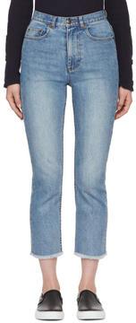 A.P.C. indigo Standard A Frayed Jeans