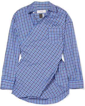 Facetasm Embroidered Checked Cotton-poplin Shirt - Blue