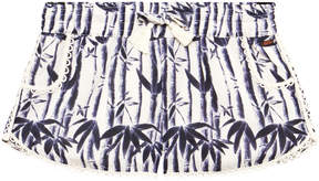 Scotch R'Belle Blue and White Palm Print Embellished Shorts