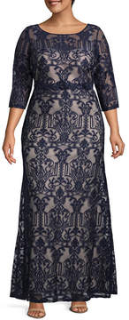 Melrose 3/4 Sleeve Evening Gown - Plus