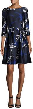 Oscar de la Renta Tossed Stems 3/4-Sleeve Cocktail Dress, Blue/White
