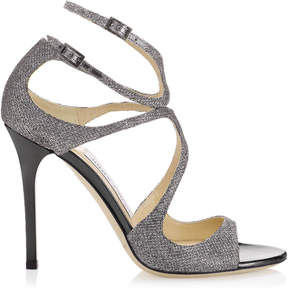 Jimmy Choo LANG Anthracite Lame Glitter Sandals