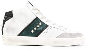 Leather Crown striped studded laterals hi-tops