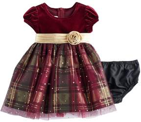 Bonnie Jean Baby Girl Velvet & Plaid Sparkle Dress