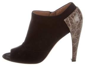Alaia Alligator-Accented Peep-Toe Booties