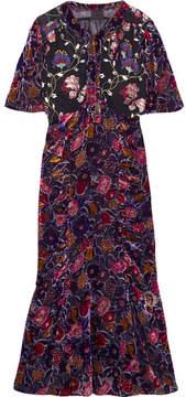 Anna Sui Devoré-chiffon And Embroidered Tulle Midi Dress - Black