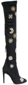 Aquazzura Dorado embellished satin boots
