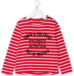 Zadig & Voltaire Kids striped slogan T-shirt