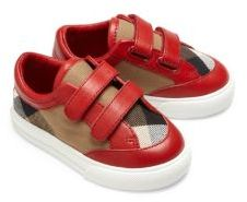 Burberry Baby's Leather-Trimmed Check Sneakers