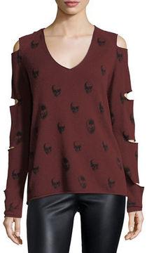 360 Sweater 360Sweater Skull-Print Cashmere Slit-Sleeve V-Neck Sweater