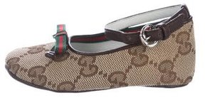 Gucci Girls' GG Canvas Web-Accented Flats