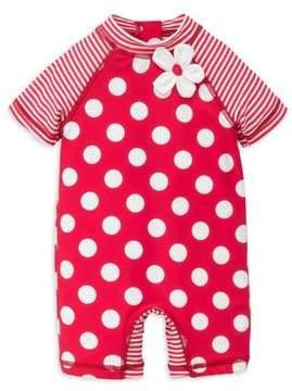 Little Me Baby Girl's Big Dot Rashguard Suit