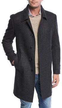 Neiman Marcus Single-Breasted Plaid Wool Top Coat