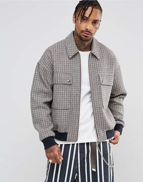 Asos Wool Mix Oversized Harrington Jacket In Check