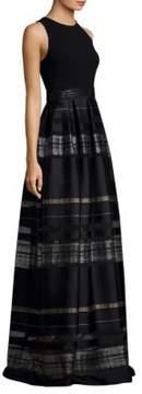 Carmen Marc Valvo Striped Floor-Length Gown