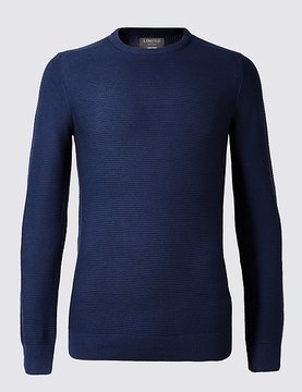 Marks and Spencer Cotton Blend Textured Slim Fit Jumpers