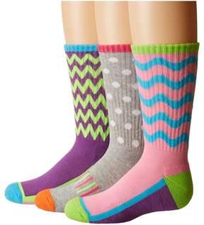 Jefferies Socks Sporty Half Cushion Crew Socks 3-Pair Pack Girls Shoes
