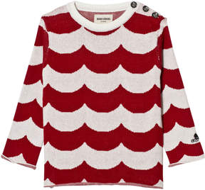 Bobo Choses Red and White Waves Sailor Knitted Jumper