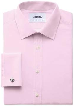 Charles Tyrwhitt Extra Slim Fit End-On-End Pink Cotton Dress Shirt French Cuff Size 15.5/33