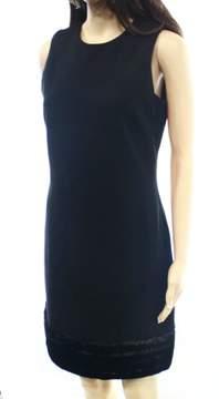 Calvin Klein Women's Sleeveless Faux Fur Trimmed Stretch Sheath Dress (6, Black)