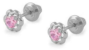 Ice Girls' Sterling Silver Pink Cubic Zirconia Flower Screw Back Earrings
