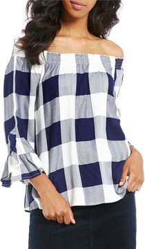 Copper Key Plaid Off-The-Shoulder Ruffle Bell Sleeve Top