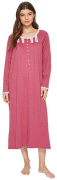 Eileen West Heather Interlock Ballet Long Sleeve Nightgown Women's Pajama
