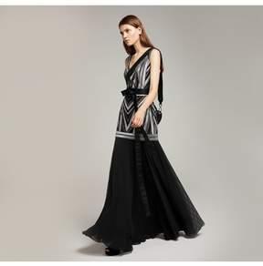 Amanda Wakeley   Black Gunmetal Long Dress With Metallic Embroidery   Xl   Black