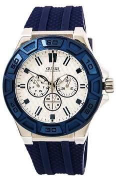 GUESS W0674G4 Men's Blue Streak Silver Dial Blue Silicone Strap Watch