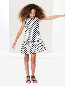 Oscar de la Renta Dotted Tweed Drop-Waist Dress