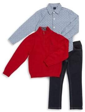 Nautica Little Boy's Three-Piece Plaid Collared Shirt, Cotton Sweater and Pants