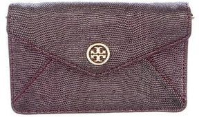 Tory Burch Embossed Leather Wallet On Chain - PURPLE - STYLE