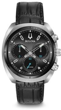 Bulova Curv 98A155 Black Leather Analog Quartz Men's Watch